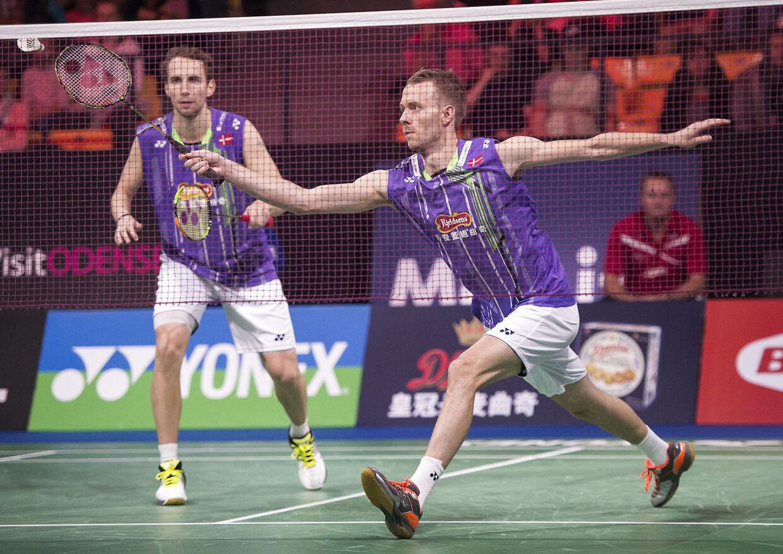 Yonex Denmark Open Badminton 2015 - Odense. Herredouble Danske Mathias Boe (th) og Carsten Mogensen mod malaysiske Shem Goh og Wee Kiong Tan.