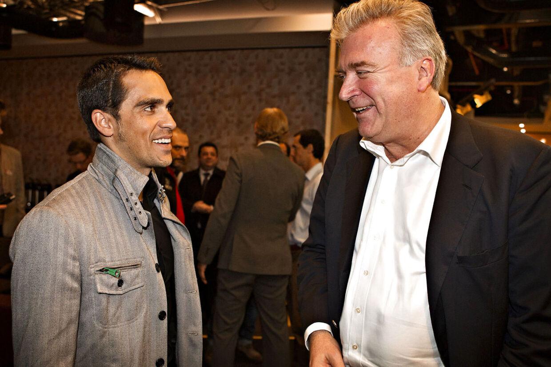 Saxo Bank-direktør Lars Seier Christensen (th) er træt af, at medierne konstant fokuserer på doping.