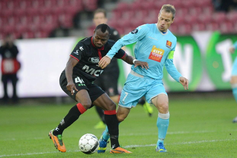 Sylvester Igboun, FC Midtjylland, scorede begge midtjydernes mål i 2-1-sejren over FC Nordsjælland.