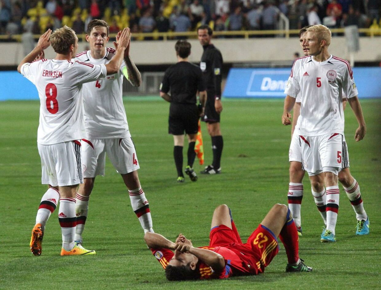 Christian Eriksen og det danske landshold jublede efter 1-0 scoringen - og ikke mindst efter sidste slutfløjt.