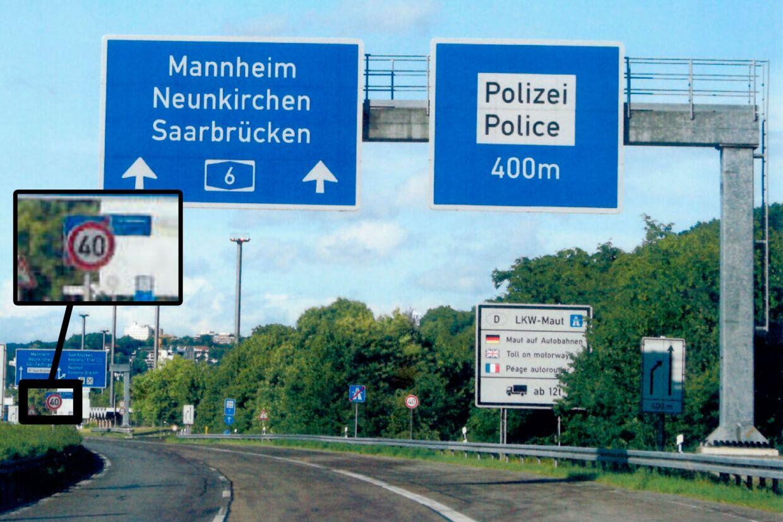 Grænseovergangen ved Saarbrücken i Tyskland, hvor bilisterne påbydes at sætte farten kraftigt ned. Foto: privatfoto