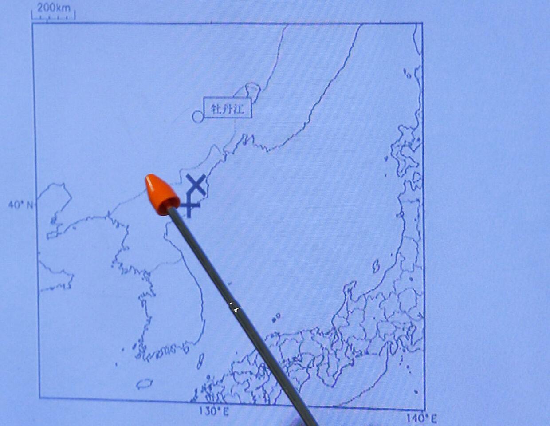 Det japanske meteorologiske institut viser, hvor rystelserne fra den nordkoreanske atomprøvespræning opstod.