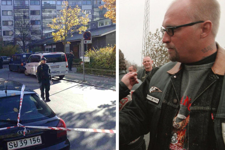 """Til venstre: Billede fra gerningsstedet. Til højre: Billede af den kendte Hells Angels-rocker Bent Svane Nielsen """"Blondie"""""""