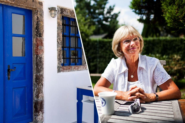 Der er mange blå døre på den græske ø Santorini, og selv om Ken B Hansen og fotografen fandt den rigtige, var de aldrig sikre på, at det var Pia Kjærsgaards, de havde fundet.