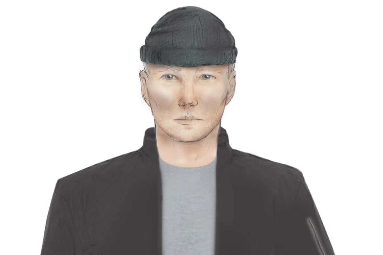På billedet en tegning, som B.T. har fået lavet ud fra politiets signalement af den efterlyste sexmorder. Det er ikke en officiel fantomtegning.