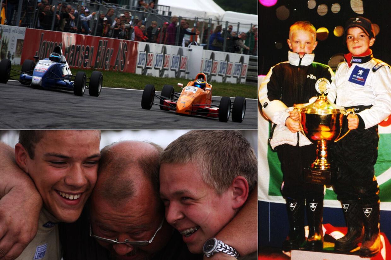 På billedet øverst kører Kevin Magnussen og Dennis Lind Formel Ford i Padborg i 2008. Det er Kevin Magnussens onkel, Erik Magnussen, på billedet nederst til venstre, og til højre ses et par meget unge gutter, der endnu engang har vundet et racerløb