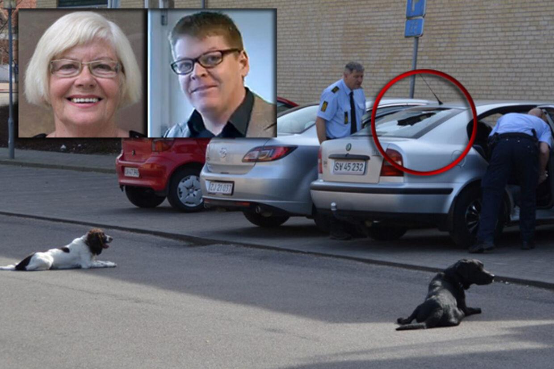 Tommy Kamps (th) mor (tv) og hendes 'beskudte' bil.