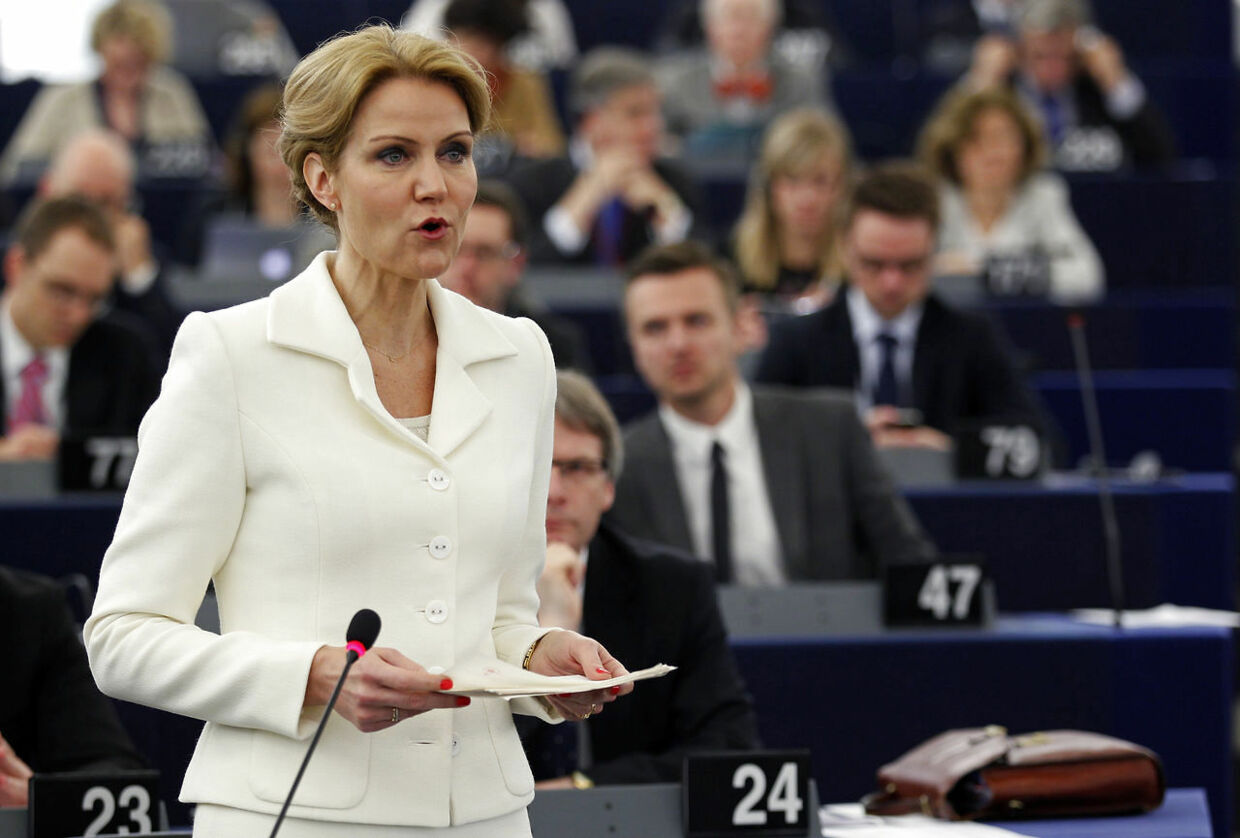 Denmark's Prime Minister Helle Thorning-Schmidt addresses the European Parliament during a debate on the review of the Danish Presidency of the EU for the last six month, in Strasbourg, July 3, 2012. REUTERS/Vincent Kessler (FRANCE - Tags: POLITICS)
