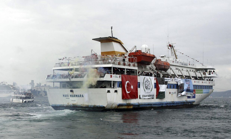 Den tyrkiske krydser Mavi Marmara er et af flere nødhjælpsskibe på vej mod Gaza.