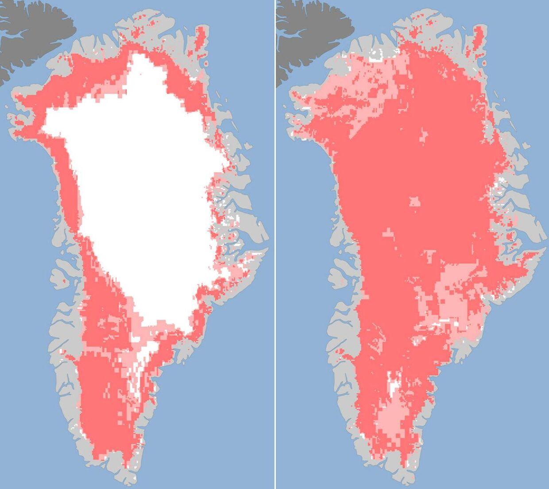 Billedet til venstre viser, at der den 8. juli er 40 pct. af indlandsisen, der er under optøning. På billedet til højre er 97 pct. af indlandsisen ramt af plusgrader - blot fire dage senere.