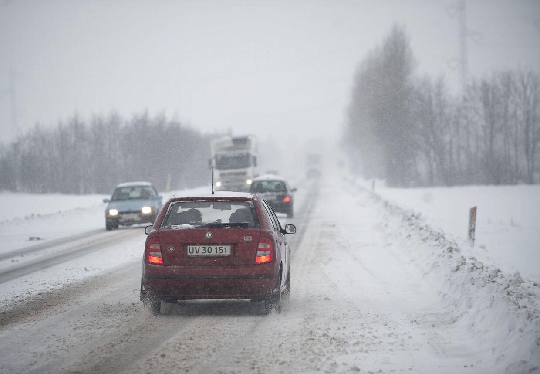 Snestorm rammer Danmark søndag.