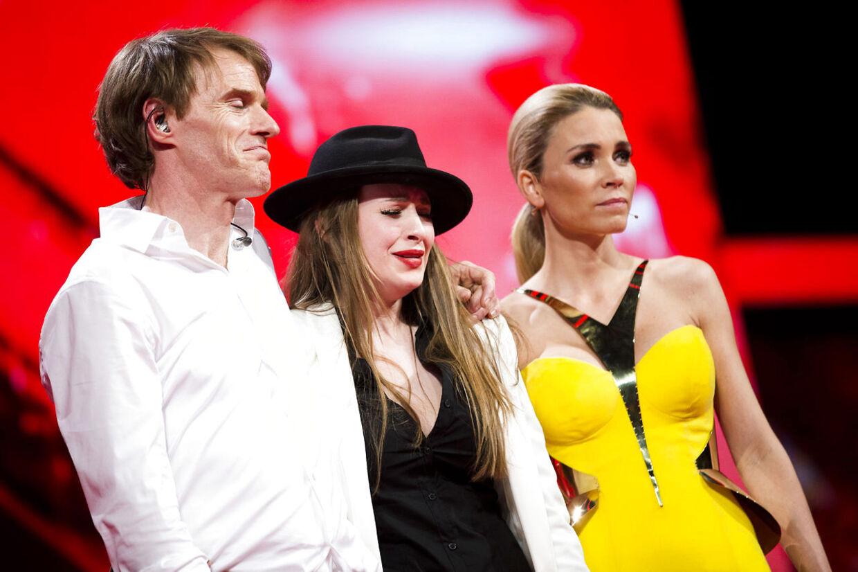 Steffen Gilmartin og Pernille Nordtorp måtte i omsang ved det fjerde X Factor-liveshow i DR Byen fredag den 7. marts 2014.