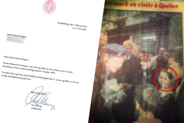 Sarah Dubord Gagnon skulle som blomsterpige møde Dronning Margrethe og prins Henrik, men drengen som skulle aflevere blomsterne til hende kom i nervøsitet til at give dem til Dronningen i stedet. Den oplevelse skrev Sarah til Dronning Margrethe flere år efter, hvilket fornyeligt resulterede i et brev fra Amalienborg. Foto: Privat