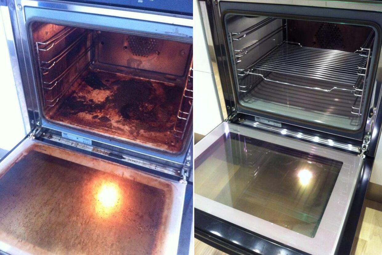 Det er dette billede, der sammen med et råd om at bruge salmiakspiritus til at rense ovnen, er blevet delt voldsomt på de sociale medier. Også bt.dk har bragt historien.