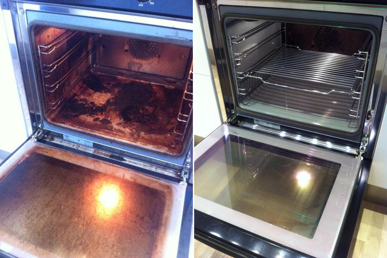 Billede fra Elisabeth Thomas Jensens Facebook-profil, der viser hendes beskidte ovn, før hun gik i gang med tricket - og hvordan den så ud bagefter.