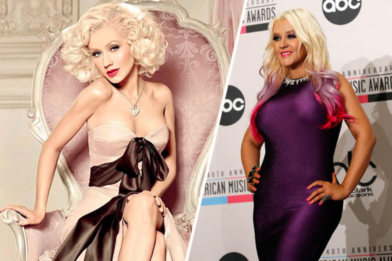 Den samme kvinde? Disse to billeder af sangstjernen Christina Aguilera er angiveligt taget med kort tids mellemrum. På billedet til venstre poserer hun for at reklamere for sin nye parfume. Men der er noget ved især armene, hofterne og barmen, der ser anderledes ud i reklamen.