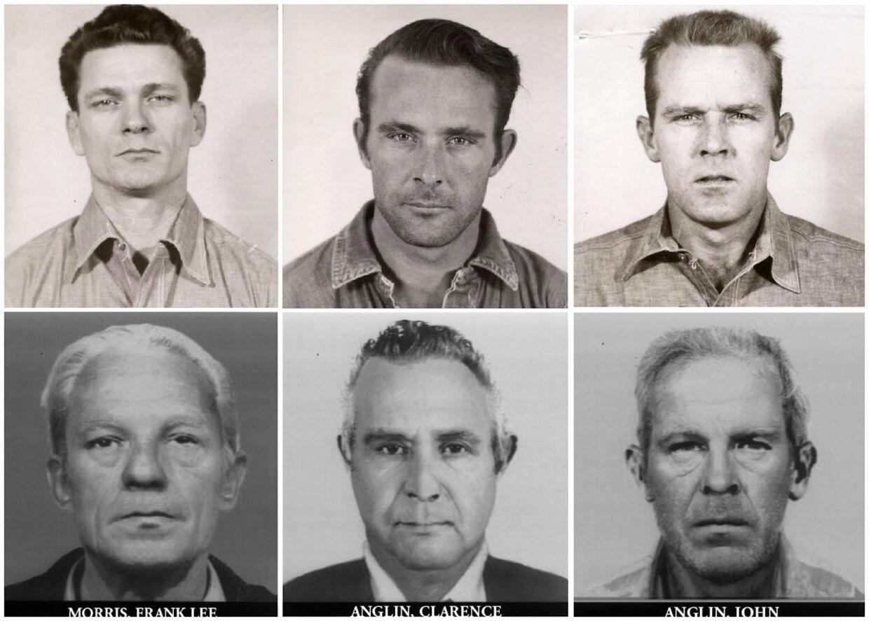 Overlevede de tre fanger flugten fra Alcatraz? Frank Lee Morris, Clarence Anglin and John Anglin ses her skildret, som de så ud, da de forsvandt, og som man forventer, de ser ud, i dag. Alle tre sad fængslet for bankrøveri. I 1962 forsvandt de fra fængslet, og ingen har set dem siden.