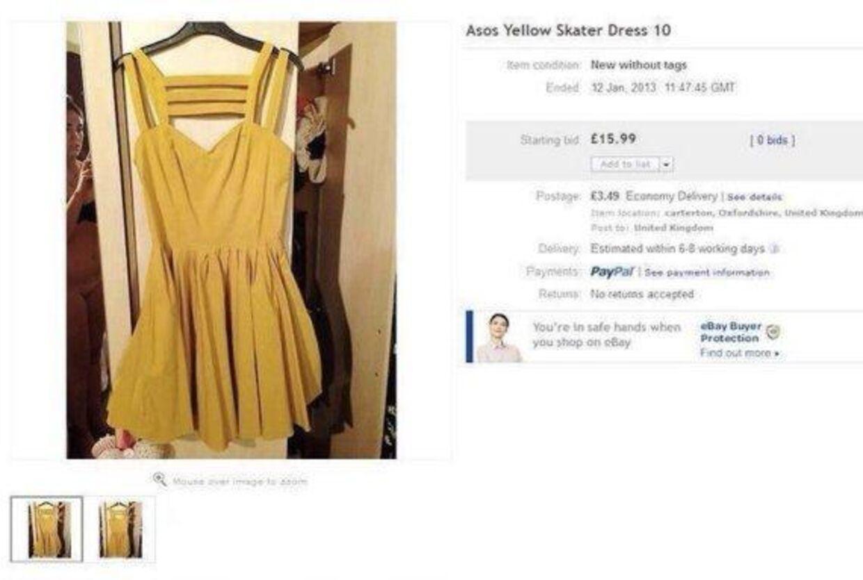 Ifølge netavisen The Huffington Post havde en kvinde med eBay-brugernavnet sugartit_2 (sukkerbryst...) sat sin sennepsgule kjole fra Asos til salg. I farten havde briten dog helt glemt at beskære billedet (og tage trusser på under foto-shootet), så udover at nyde synet af sugartit_2s gule skater-kjole, kunne eBay-kunderne også muntre sig over motivet af en uforvarende sugartit_2 med bar numse.