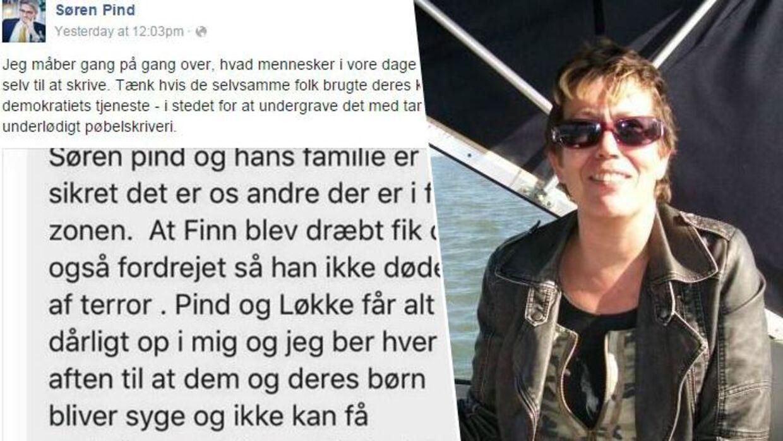 Til venstre ses beskeden, som Søren Pind har delt. Til højre ses 57-årige Hanne Sørensen fra Esbjerg.