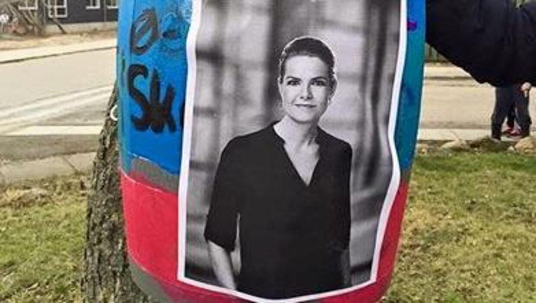 Elever slog på Inger Støjberg Foto: Helle Lillelund Facebook