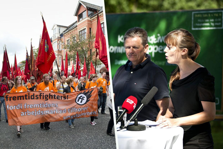 Støttedemonstration til fordel for 3Fs blokade af Restaurant Vejlegården. De Konservative vil nu have en lov, der beskytter mod fagforeningsmobning.