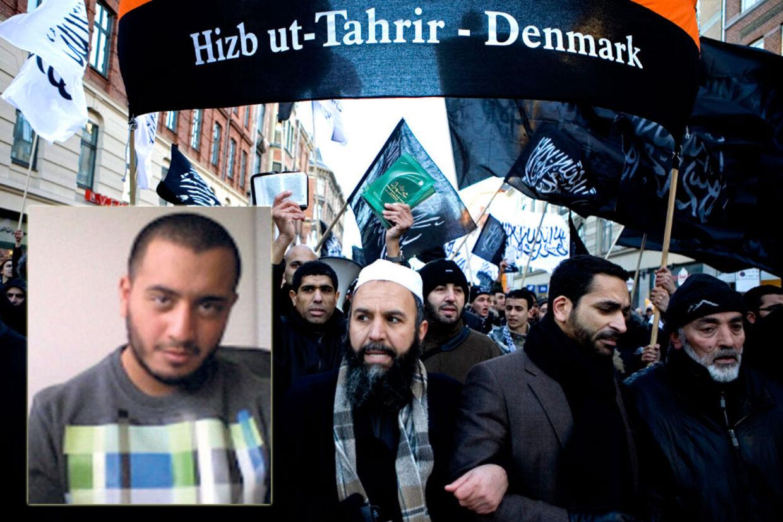 På billedet ses Ammar Doosh (lille billede) og Hizb ut-Tahrir, der demonstrerer mod genoptrykningen af Muhammed-tegningerne..