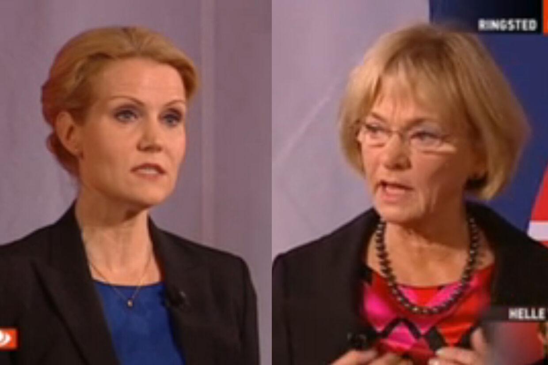 Helle Thorning-Schmidt og Pia Kjærsgaard mødte hinanden torsdag aften i en direkte duel