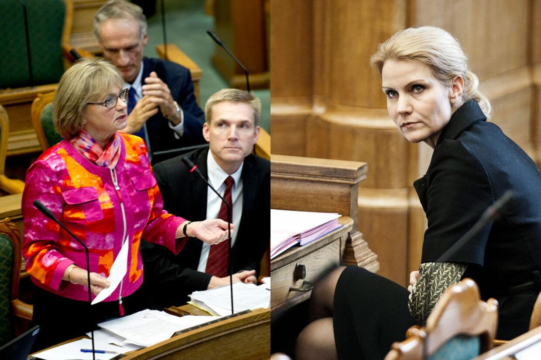 Det føg med beskyldninger, da Pia Kjærsgaard og statsminister Helle Thorning-Schmidt i går diskuterede grænsekontrol, affødt af den aktuelle sag, hvor to bulgarere er sigtet og fængslet for rovmord i Herlev.