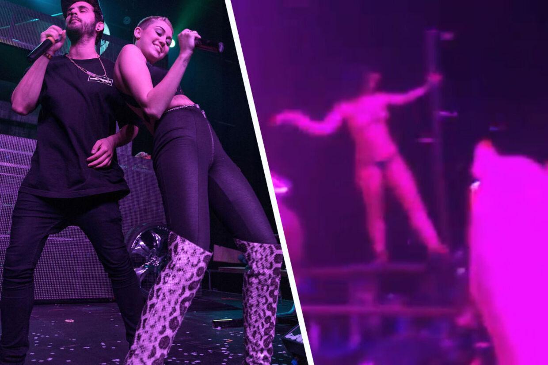 Der var ikke meget Hannah Montana over Miley Cyrus', da hun optrådte med den israelske dubstep-stjerne, Bogore, med showet 'Christmas Creampies' - et show, der også bød på strippere og andre uartigheder.