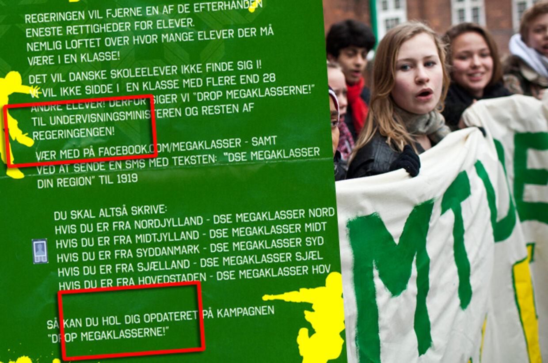 'Drop megaklasserne', råbte eleverne som velkomst, da Tina Nedergaard besøgte Amager Fælledskole. Danske Skoleelevers noget alternative stavning ses her.