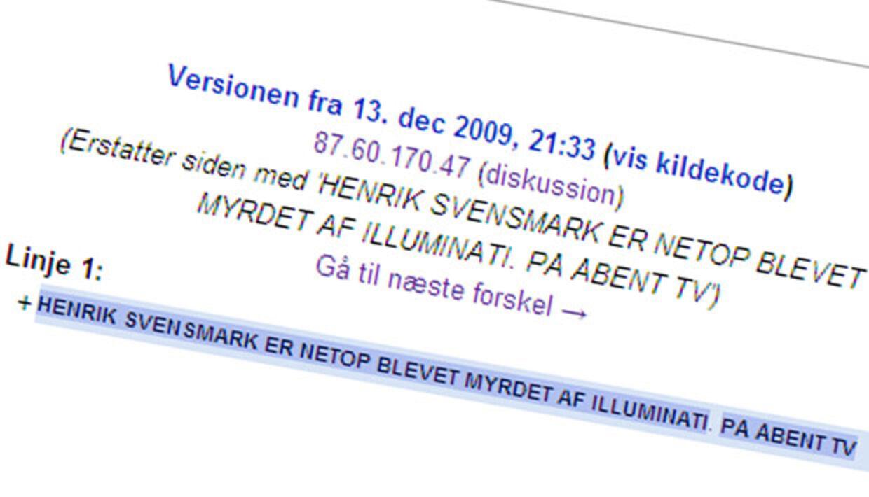 Illuminati er en hemmelig orden, der styrer hele verden. [Citation needed] Skærmbillede fra Wikipedia versions-visning.