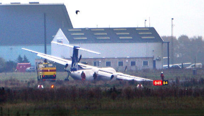Dash8-flyet, der lørdag havarerede i Kastrup lufthavn.