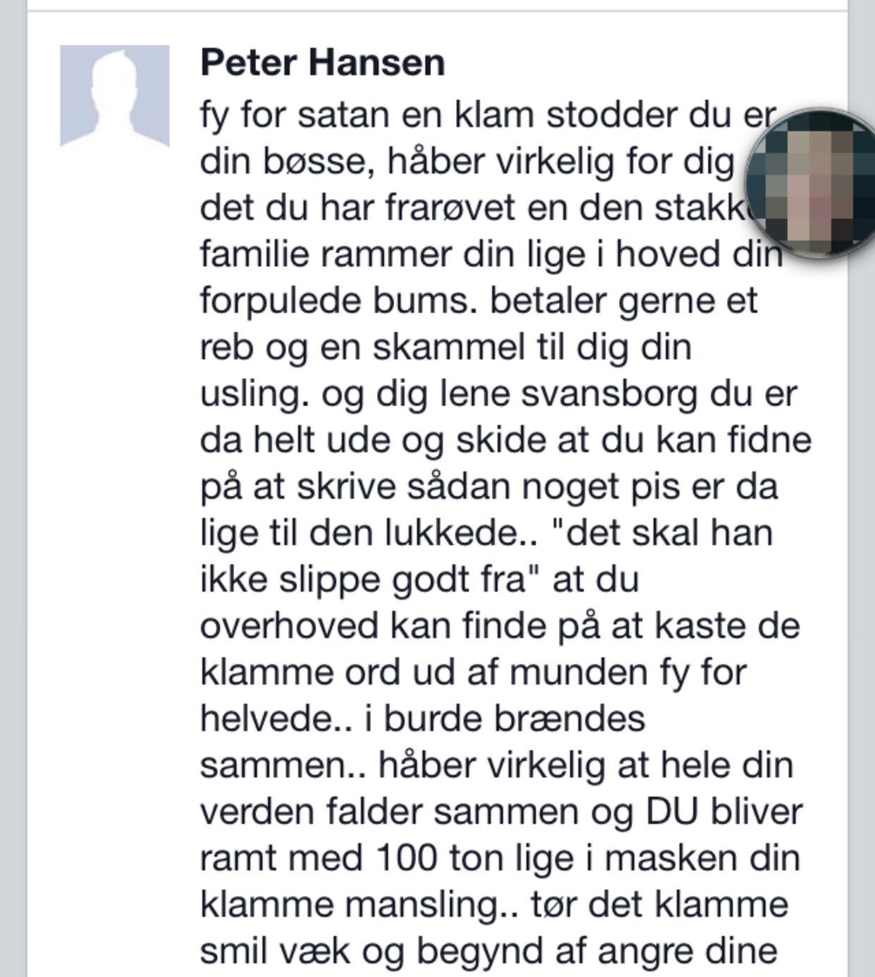 Der bliver ikke lagt fingre imellem, når Lasse Burholt får trusler på Facebook.