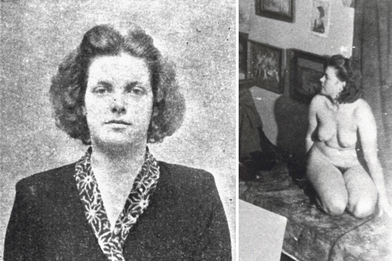 Grethe Bartram efter sin anholdelse i 19945 til venstre - til højre et billede fra hendes tid som nøgenmodel.