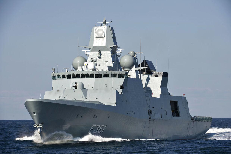 Søværnet har været i aktion ud for Oman, hvor et dansk handelsskib fra rederiet Torm slog alarm. Her ses fregatten F 361 Iver Huitfeldt.