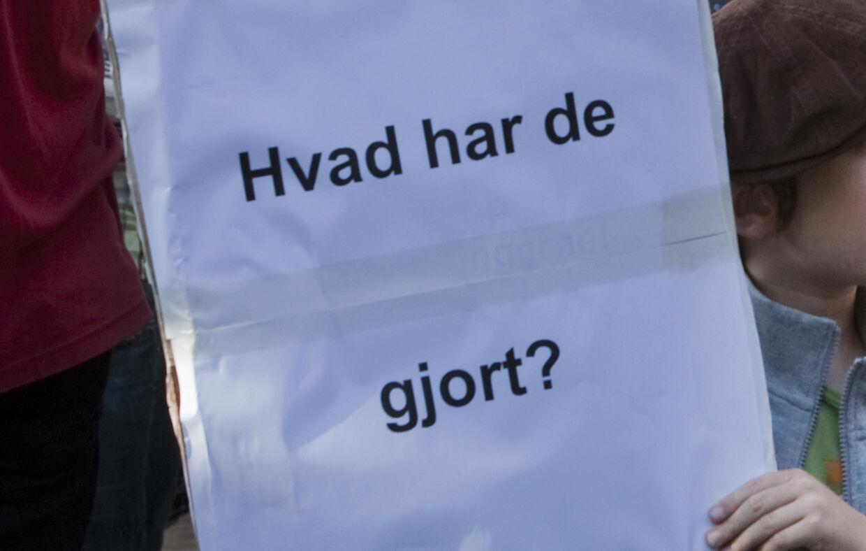 Arkivbillede fra protestdemonstrationen mod politiets rydning af irakere fra Brorson Kirke i København.