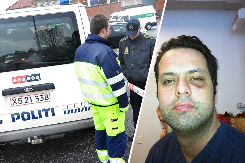 Politiet står foran Restaurant Vejlegården dagen efter branden. Til venstre billedet som Amin Skov selv har givet til BT som bevis på, at han var blevet overfaldet.