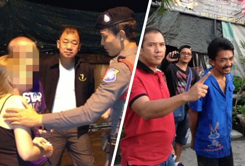 En 37-årig dansk kvinde blev bortført under en ferietur i Thailand. Men hun har det godt. Forbryderne (th.) er i Politiets varetægt.