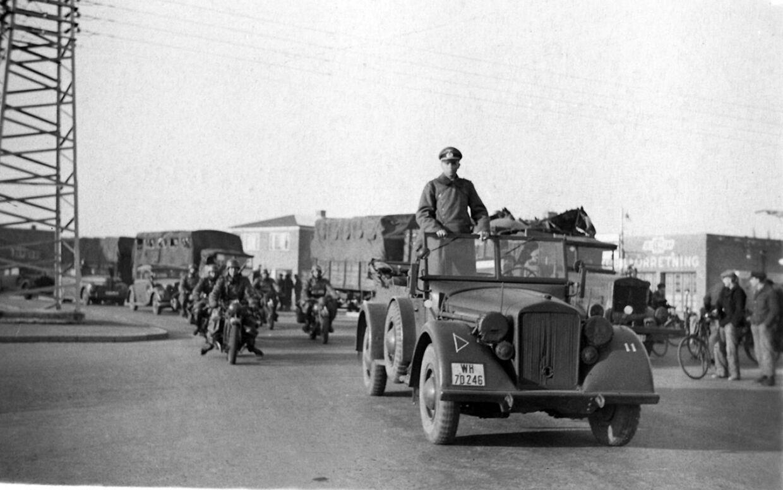 Tyske tropper på vej gennem Aabenraa den 9. april. Foto: Th. Christensen/Scanpix