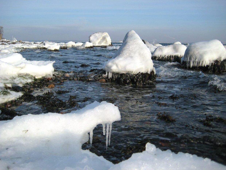 Snekkersten. Vinter i Danmark med små isbjerge.