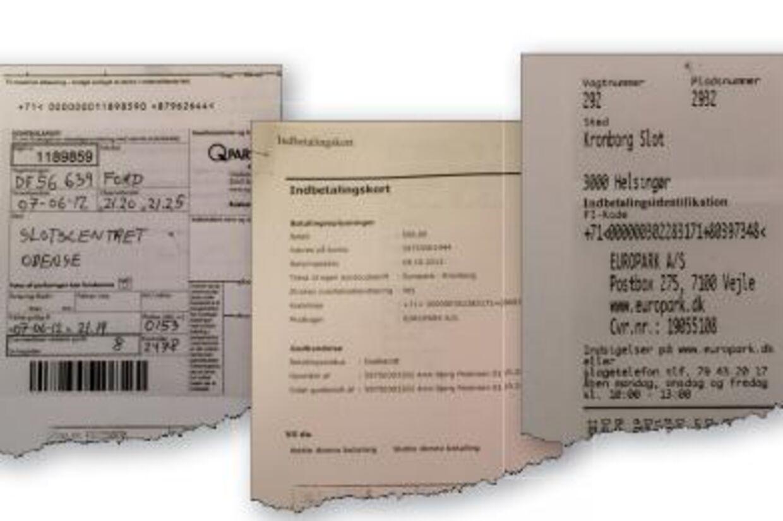 Her ses tre af de omtalte parkeringsbøder.