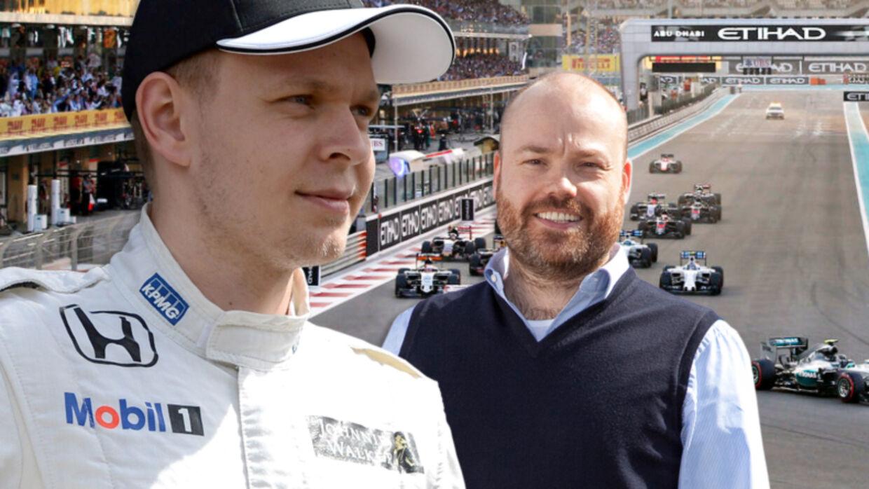 Racerkører Kevin Magnussen og milliardæren Anders Holch Povlsen (th.)
