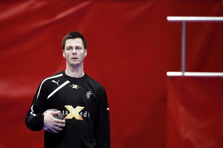 Hans Lindberg til træning med det danske landshold.