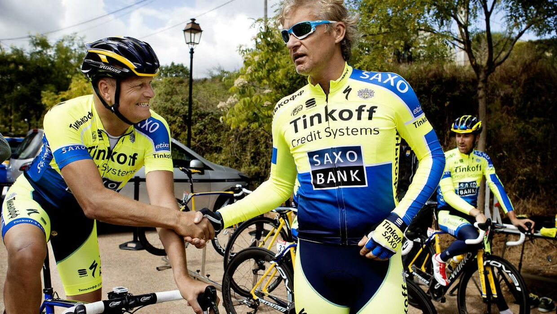 Bjarne Riis og Oleg Tinkov i de 'gamle dage' på Tinkoff-Saxo.
