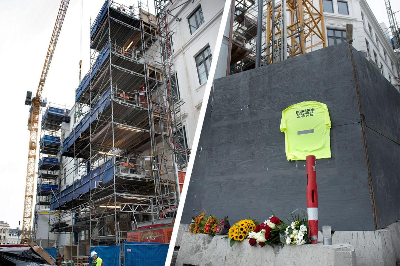 Der var lagt blomster, tændt lys og hængt en arbejdsbluse op for at mindes den 32-årige stilladsarbejder, der tirsdag styrtede ned fra taget på Hotel d'Angleterre og døde.