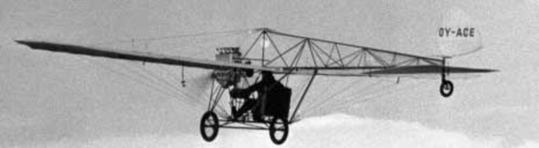 Flyhistorikeren Toni Mygdal-Meyer betragter det som nonsens, at Jacob Ellehammer skulle have været den første i Europa, der fløj med en motordreven flyvemaskine.<br>Arkivfoto: SCANPIX