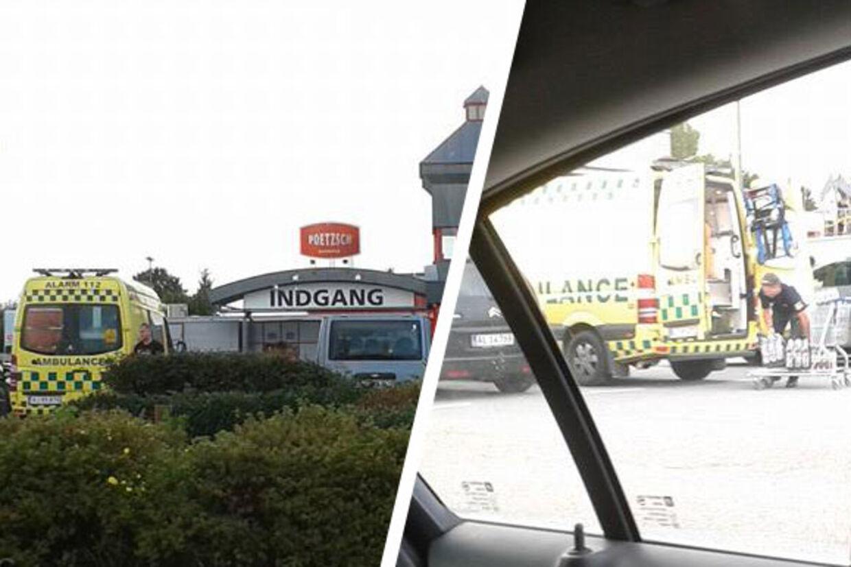 Ved grænsebutikken Poetzsch i det nordlige Tyskland mødte dette syn de handlende - ambulancereddere der brugte en ambulance til at fragte deres indkøb hjem i.