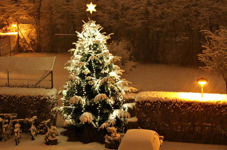 Sådan kommer det nok ikke til at se ud ret mange steder juleaften i år. I hvert fald er der spænding til det sidste om, hvordan vejret bliver 24. december. (Arkivfoto)