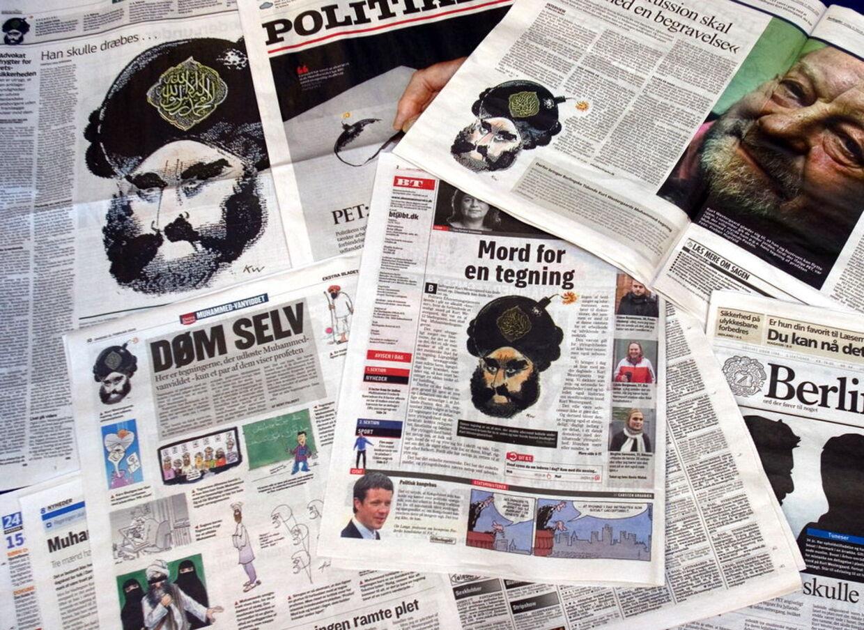 Muhammed-tegningen af Kurt Westergaard er blevet genoptrykt mange steder, efter attentatforsøget mod tegneren i fredags.