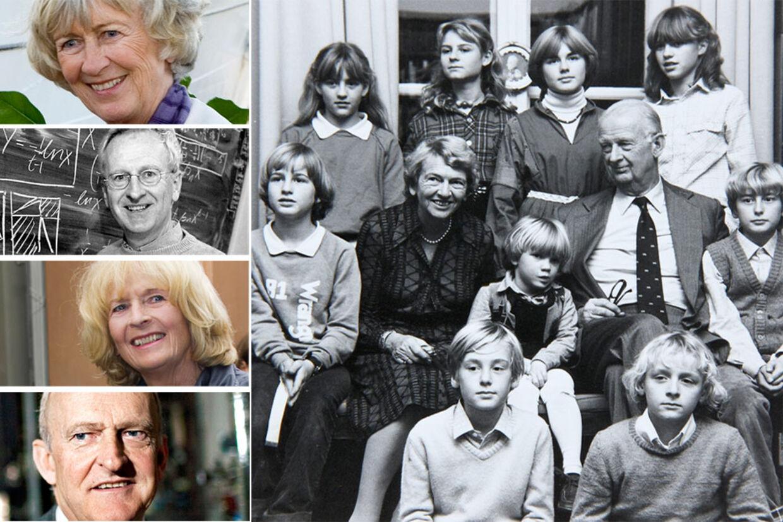 Inger og Haldor Topsøe med ni af de 10 børnebørn, der i dag også er med i overenskomsten om virksomheden og arven. Til venstre ses børnene Lissen Haugwitz Reventlov (øverst), Flemming Topsøe (2. ø), Birgitte Ølgaard (2. nederst) og Henrik Topsøe (nederst).